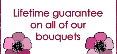 Lifetime guarantee on silk artificial flower wedding bouquets from the bridal flower