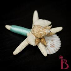 wedding boutonniere button hole starfish shells beach wedding tiffany aqua blue