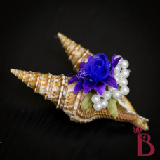 seashell boutonniere purple accent beach wedding button hole groom groomsmen shells