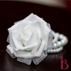 white rose wrist corsage wedding prom special occasion artificial silk fake flower
