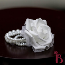 silk wedding corsage flower wrist mother grandmother flower rose white pearl bracelet prom
