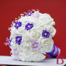 purple lavender pearl flowers white silk artificial roses soft touch look real pearl flowers