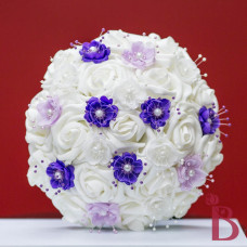 silk wedding bouquet white roses purple lavender mix pearl flowers