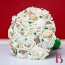 beach wedding bouquet silk artificial flowers emerald green pins roses shells beach weddings