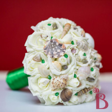 fake flower wedding bouquet emerald bouquet with shells and pins