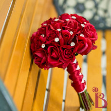 red rose wedding bouquet with real touch roses artificial fake sparkles natural looking