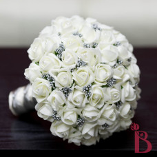 ivory and platinum silver gray wedding bouquet silk fake roses rose buds