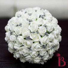 artificial fake wedding bouquet for weddings quinceanera party ivory gray platinum silver