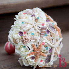 coral and tiffany blue seashell wedding bouquet for beach weddings with sugar star fish and white finger