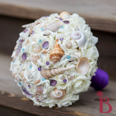 silk wedding bouquet artificial roses purple and blue pins and shells