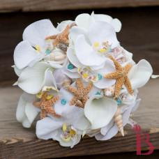 beach wedding bouquet silk flowers orchid calla lilies star fish shells