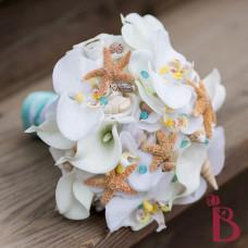 quality artificial silk wedding bouquet beach real touch natural feel star fish shells aqua tiffany blue