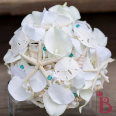 sand dollars starfish seashells beach wedding bouquet aqua tiffany blue silk flower bridal flowers
