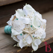 seashell wedding bouquet starfish sand dollars all white orchid calla lily bouquet