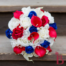 red rose calla lily royal blue real natural touch wedding bouquet fireworks fourth of july