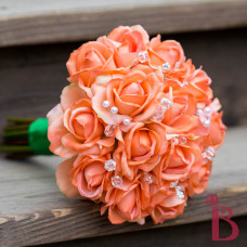 real touch orange coral wedding bouquet pearls crystals