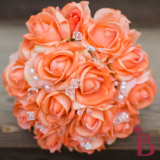 silk wedding bouquet orange flower set