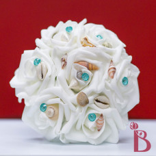 tiffany blue aqua seashell bouquet mini flower girl toss silk flowers