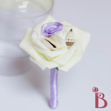 light purple seashell boutonniere with rosette small shells mini rose