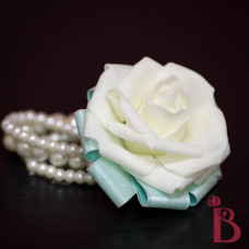 tiffany aqua corsage rose on pearl bracelet silk rose