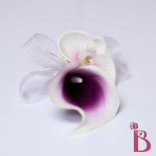 purple middle white edge picasso calla lily real touch corsage