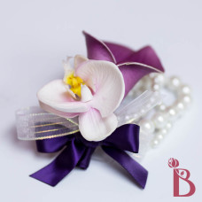 orchid calla lily wrist corsage real natural touch purple lavender