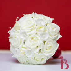 ivory cream bridesmaid bouquet silk roses