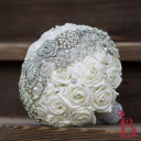 brooch strip bouquet wedding silk roses artificial flowers