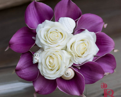 purple calla lily cream roses seashell bouquet with seashells