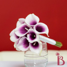 purple center calla lily bouquet picasso real touch mini toss flower girl size