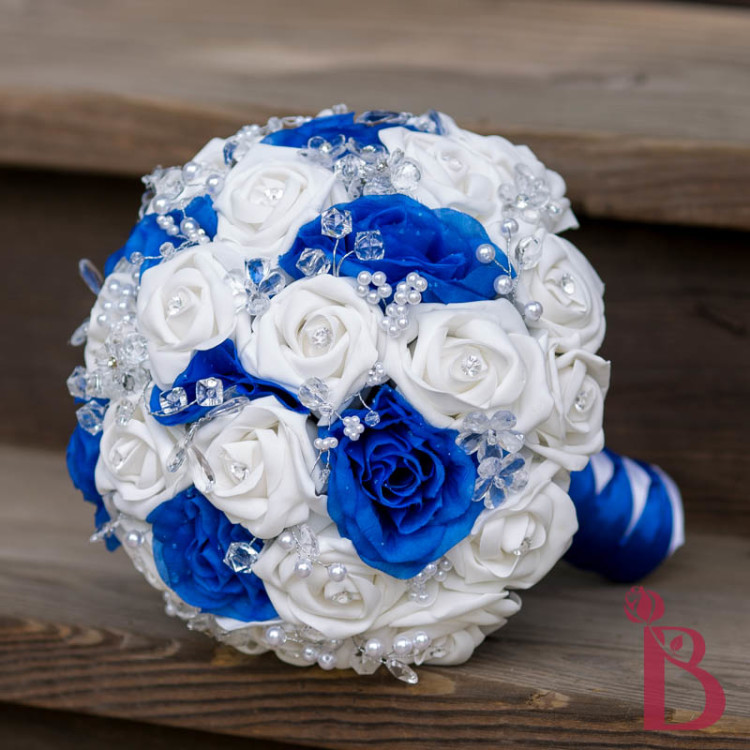 White Blue And Silver Wedding Bouquets: Royal blue and white ...