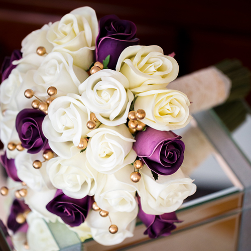 purple ivory gold rosebud bouquet real touch shop bridal wedding