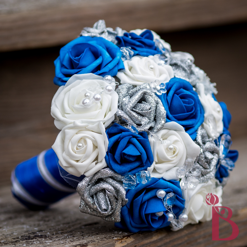 Silk Wedding Flowers In Maryland : Royal blue silver bouquet md more colors the bridal flower