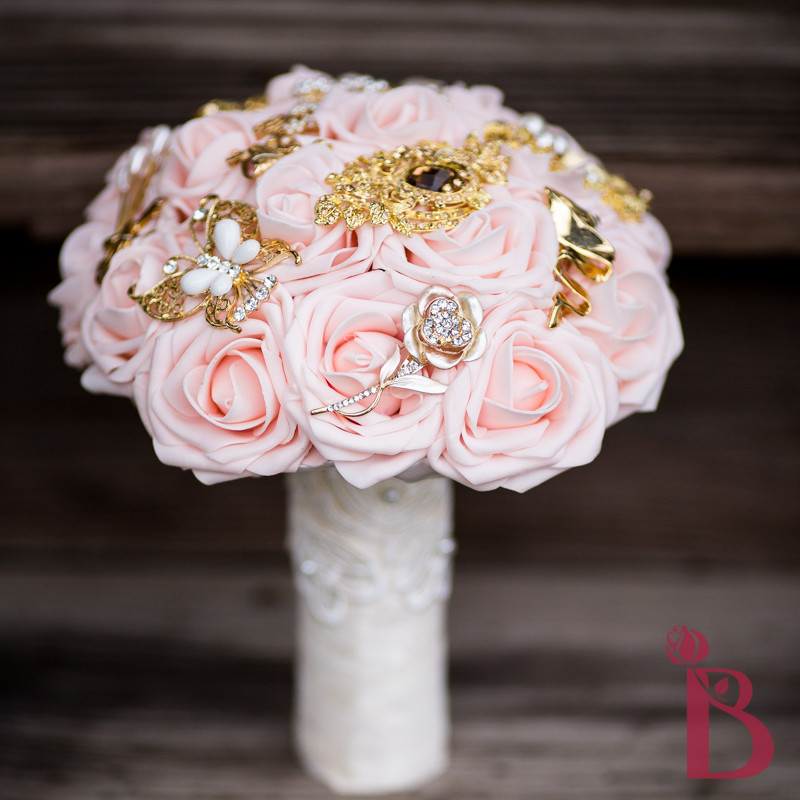 Silk Wedding Flowers In Maryland : Blush pink gold brooch bouquet md more colors the