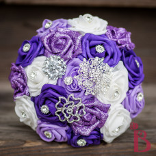 light purple lilac lavender roses brooch bouquet sparkly wedding silk flowers