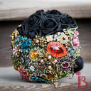 black fake rose vintage brooch bouquet medieval wedding queen theme
