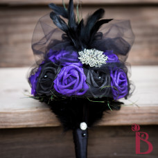 black purple wedding bouquet feathers brooch goth scepter evil queen once upon a time